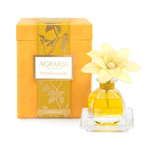 AGRARIA PetiteEssence Luxury Fragrance Diffuser Golden Cassis Scent, Includes 1 Sola Flowers and 7 Reeds