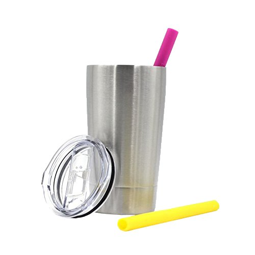 12oz Kids Tumbler Insulated Double Wall cup with Colorful Silicone Straws | Stainless Steel Toddler Mug with Lid and Straw | Unbreakable & BPA Free | Set of 2 Colorful Silicone Straws