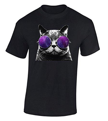 Raxo Cat Galaxy Glasses T-shirt Astro Space Love Animal Head Cosmic Pet Shirt L - Space Glasses Cat