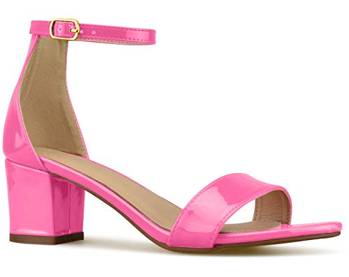 (Bella Marie Women's Strappy Open Toe Block Heel Sandal, Neon Pink, Size 8)