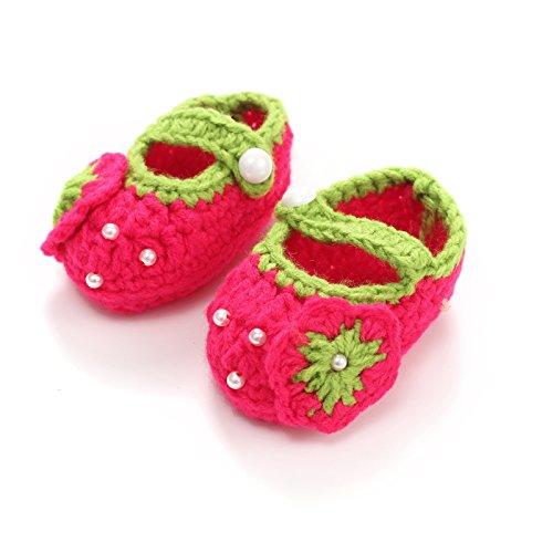 ACVIP Baby Unisex Winter Strick Babyschuhe mit Verschiedene Deko Rutschfeste Strickschuhe (Rot Erdbeere) Rot Erdbeere
