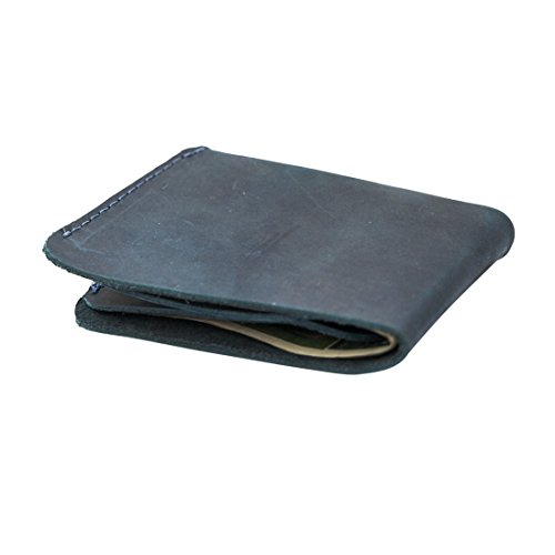 Leather Slimfold Wallet Credit Card Holder Handmade by Hide & Drink :: Slate Blue