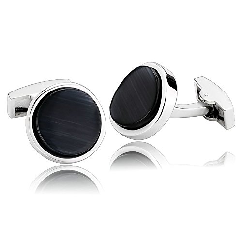 - ANAZOZ Stainless Steel Customize Cufflinks for Men Shirt Cufflinks Wedding Black Round 1.8x1.8CM