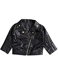 SUPEYA Baby Boys Girls PU Leather Jacket Casual Solid Long Sleeve Outerwear Coat