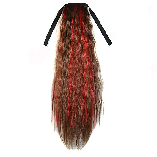Abwin Mixed Color Bundled Corn Hot Roll Ponytail / Light Brown and Red (Corn Roll Hairstyle)