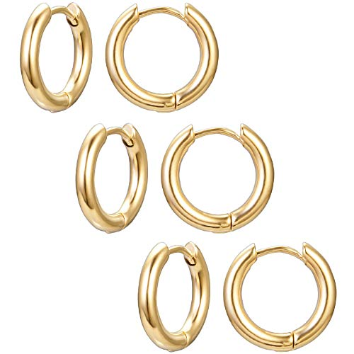 Sport Tone Earrings Gold - 3-4 Pairs 8mm-20mm Stainless Steel Men Women Hoop Earrings Cartilage Lip Piercing Nose Hoop 16G (Gold-tone 3 Pairs(12mm))