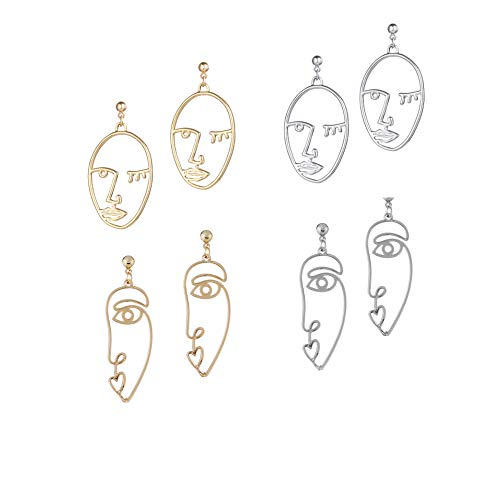 Face Picasso - Hypoallergenic Face Earring Set Silver Gold Picasso Face Earrings for Women Girls Teens 4 Pairs