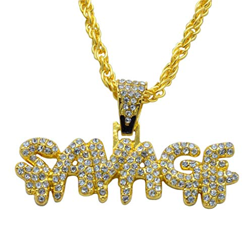 sameno Men's Hip-hop European and American Full Diamond Letters SAVADF Pendant Necklace Trend Fashion Jewelry (Gold)