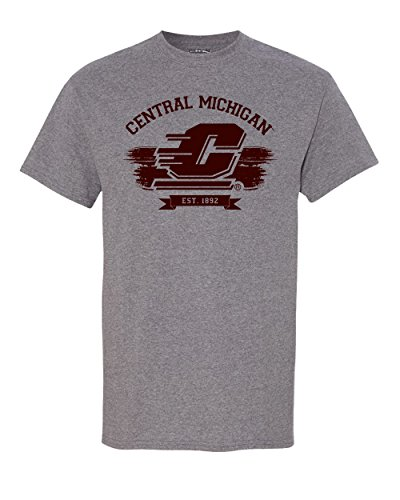 CreateMyTee Central Michigan University Grey Vintage Adult T-Shirt (XX-Large)