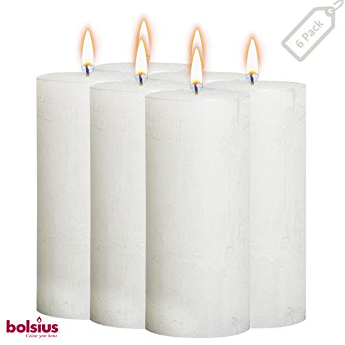 BOLSIUS Rustic Full Metallic White Candles - Set of 6 Unscented Pillar Candles - White Candles with a Full Metallic Coat - Slow Burning - Perfect D