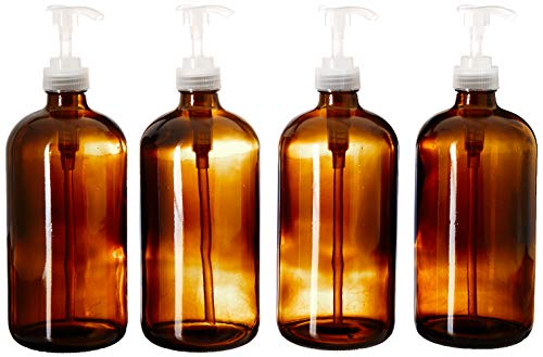 (kitchentoolz 32-Ounce Large Amber Glass Boston Round Bottles w/Natural Color Pumps. Great for Lotions, Soaps,Oils, Sauces - Food Safe and Medical Grade (Pack of 4))