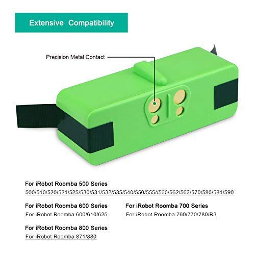 [2017UPGRADE] melasta Extended Capacity 6400mAh 14.8V Lithium-ion Replacement Battery Made of Brand Cells for iRobot Roomba 500 600 700 800 Series 551 595 620 645 650 655 670 675 770 780 870 880