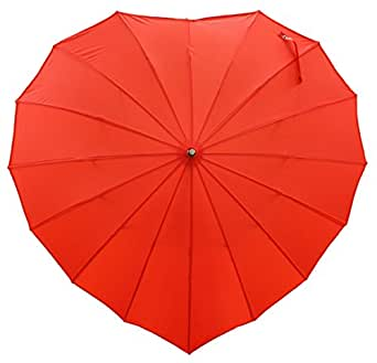 Bright Red Heart-Shaped Stick Umbrella, Great for Weddings, Photographer's Prop Parasol, & Lovers