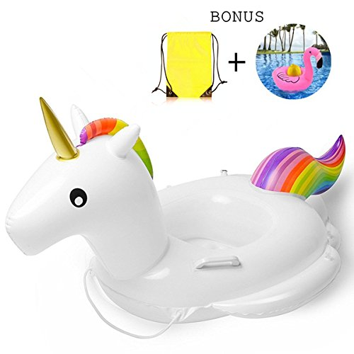 Price comparison product image Baby Pool Float, Unicorn Inflatable Rafts Swim Ring Swimming Pool Toys for Kids- Bonus Carry Bag & Flamingo Drink Float