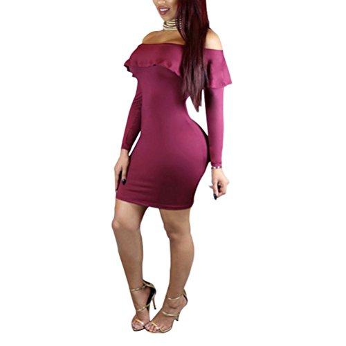 Zhhlinyuan High Quality Off Shoulder Lotus Leaf Collar Vest Slim Dress Skirt Pure Color Ropa para mujer Nightclubs Dark Red