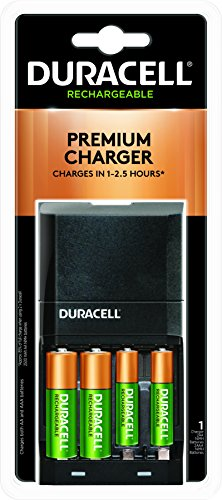 Duracell - Ion Speed 4000 Battery Charger with 2 AA and 2 AAA Batteries - charger for Double A and Triple A batteries