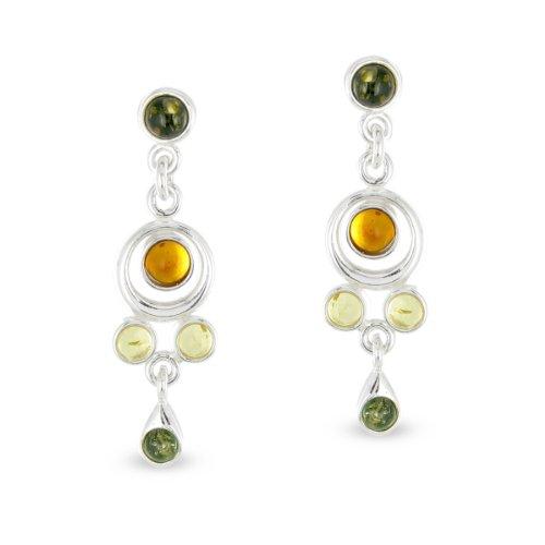 Tousmesbijoux Boucles d'oreilles multi pendantes Argent et ambre