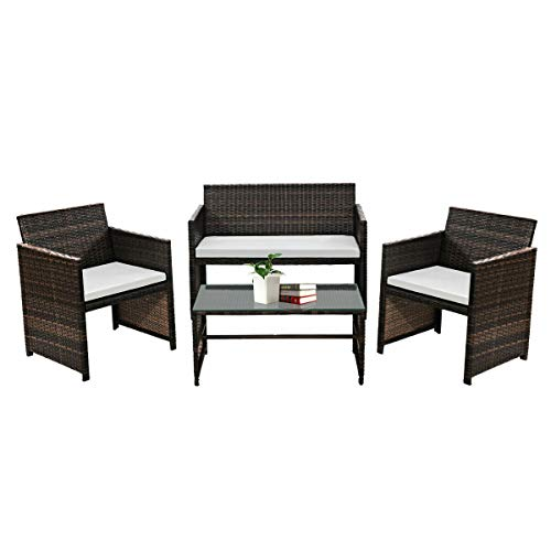 Goplus Rattan Sofa Furniture Set Outdoor Garden Patio 4-Piece Cushioned Seat Mix Brown -