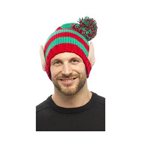 c60e3a5bec5 Christmas Elf Novelty Beanie Woolly Winter Hat With Elf Ears Fancy Dress  Party  Amazon.co.uk  Kitchen   Home