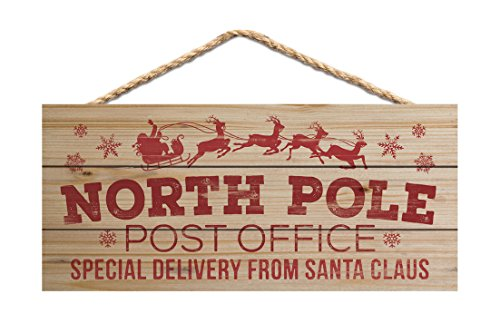 P. Graham Dunn North Pole Post Office Natural 10 x 4.5 Wood Christmas Wall Hanging Plaque - Christmas Sign Post