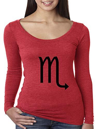 Trendy USA 955 - Women's Long Sleeve T-Shirt Scorpio Symbol Zodiac Sign The Scorpion Small Red