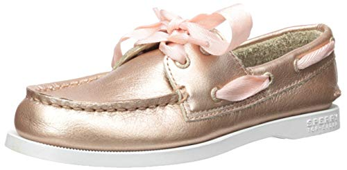 SPERRY Girls' Authentic Original Boat Shoe, RSE Gold, 135 Medium US Little Kid (Gold Sperry Shoes)