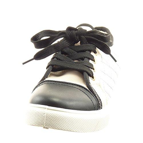 Sopily Scarpe da Moda Sneaker bi-materiale alla caviglia donna trapuntata Tacco a blocco 2.5 CM - soletta sintetico - foderato di pelliccia - Argento