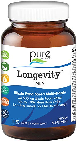 Longevity Multivitamin for Men Over 40 - Super Energetic One a Day with Superfoods, Minerals, Enzymes, Vitamin D3, B12, Biotin - 120 Tablets