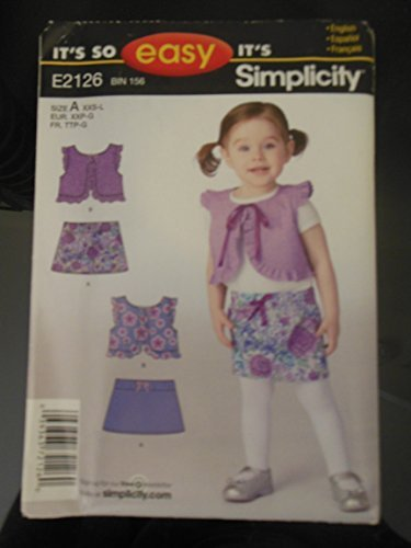 It's So Easy Simplicity E2126 Baby Toddler Vest & Skirt Sewing Pattern SZ A (Baby Skirt Pattern)