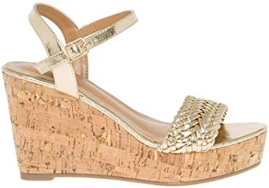 LE CHÂTEAU Braided Open Toe Wedge Sandal Gold Size: 5 5.5