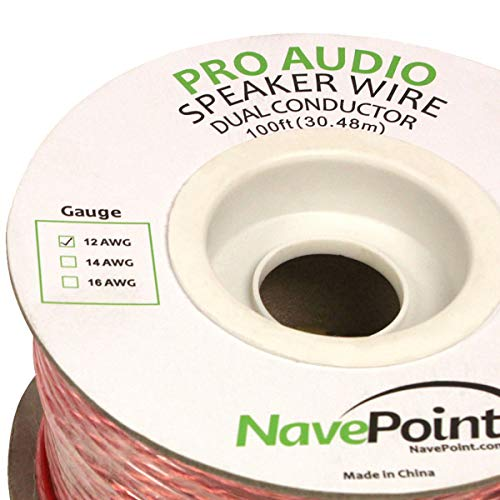 NavePoint 100ft in Wall Audio Speaker Cable Wire CL2 12/2 AWG Gauge 2 Conductor Bulk Clear