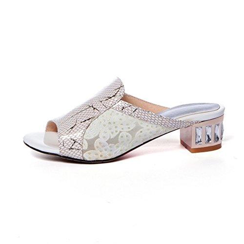 AdeeSu - Zapatos con tacón mujer Beige