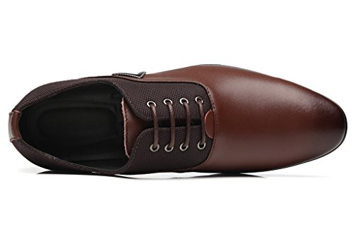 Dadawen Mens Classico Moderno Brogue Wingtip Lace Up Dress Oxford Scarpe Marrone