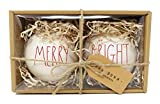 Rae Dunn by Magenta Set of 2 Merry & Bright Ceramic LL Red Letter Round Bulb Christmas Tree Ornaments