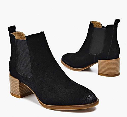 Invierno Mujeres Botines Gruesas Botas Plataforma Británico Zapatos Elásticos Viento Puntiagudas Con De Imitación Black Mate Cuero Chelsea Damas Hylff Tobillo ASqwaXdw