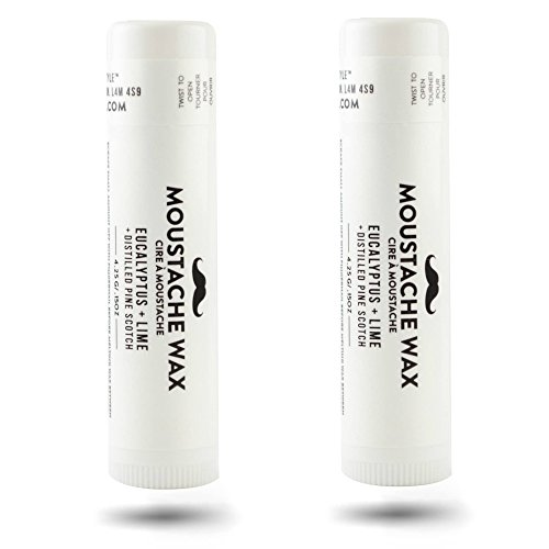 Mustache Wax 2 Pack: Eucalyptus + Lime with Distilled Pine Scotch. Provides Natural Hold and Styling. Convenient Application Tube. Free of Chemicals, 100% Natural Ingredients Made in Small Batches.
