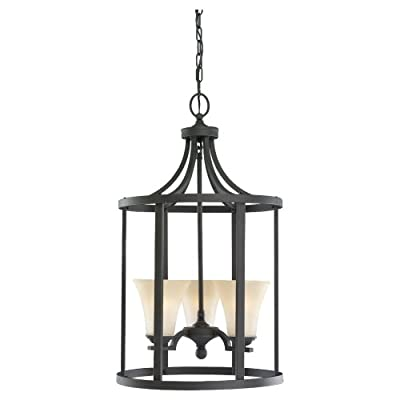 Sea Gull Lighting 51375-839 3-Light Hall and Foyer Fixture, Cafe Tint Glass Shades and Blacksmith
