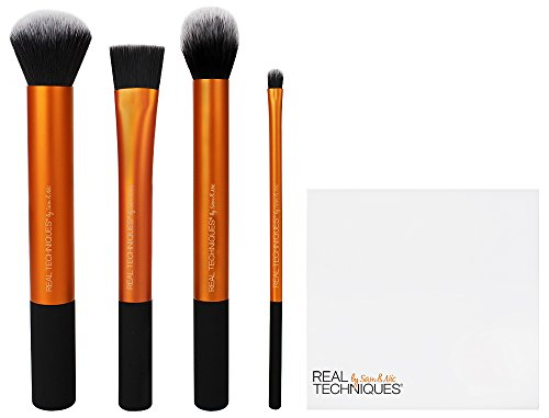 Real Techniques Cruelty Free Flawless Base Set, Synthetic Bristles Includes: Contour, Detailer, Buffing & Square Foundation Brushes