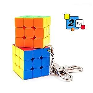 2 Pcs Mini 3x3 Cube Keychains, 1.18 Inch Speed Rubik's Key Ring