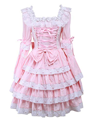 Antaina Pink Cotton Bow Ruffle Lace Sweet Retro Victorian Lolita Cosplay Dress,M