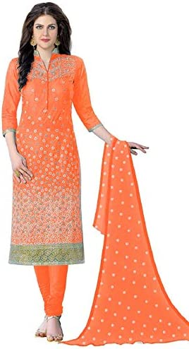 Nivah Fashion Women's Cotton Embroidery Churidar Suit Dress Material