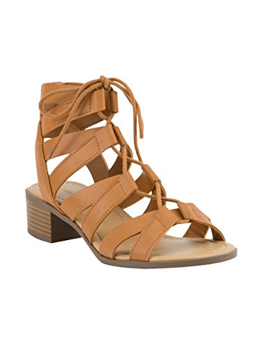 - City Classified Strappy Lace Up Cognac Sandals, Cognac, 9