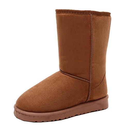 Mashiaoyi Snow Boots Slip Warm Flat Half Brown Women's on r0wYAarn