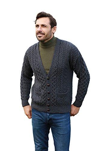 Men's Merino Wool Irish V-Neck Knit Cardigan (Large, ()