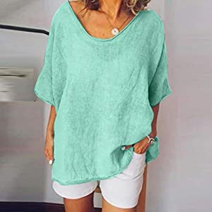 Baekoiesy Women V-Neck T-Shirt Short Sleeve Batwing Bat Summer Shirt Tunic Blouse Wrap Shirt Sexy Top Family Casual…