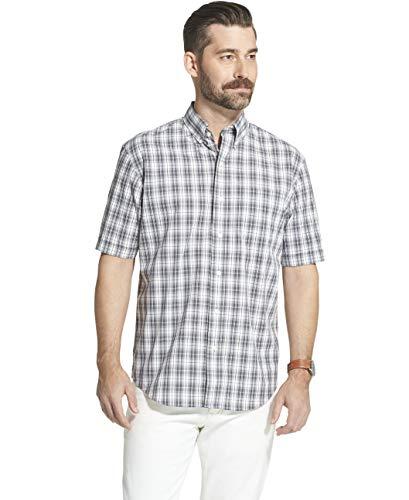 - Arrow 1851 Men's Hamilton Poplins Short Sleeve Button Down Plaid Shirt, SHARK SKIN, Large
