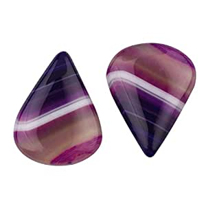 1 pair Colored Banded Agate Cabochon Pear shape Matched Pair loose semi precious gemstone size 18x23mm approx 27.10ct. Wholesale Gems A212