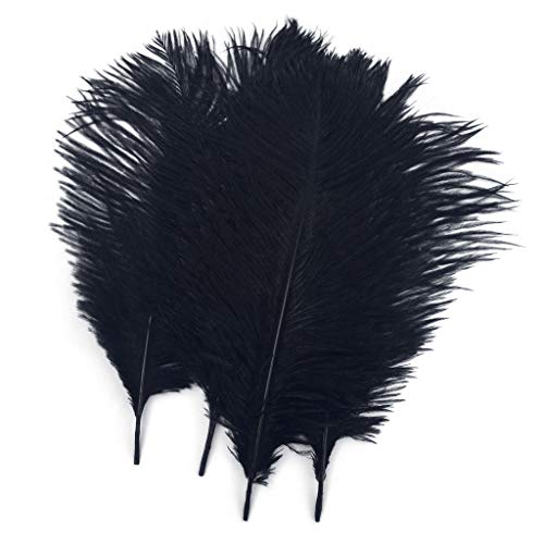 Shekyeon Black 10-12inch 25-30cm Ostrich Feather Home Decoration DIY Craft Pack of 10]()