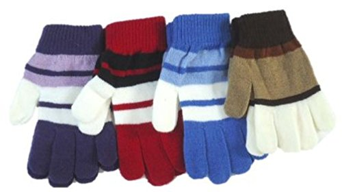 Four Pairs Stripped Magic Gloves for Children Ages 5-15 Years by Dylan
