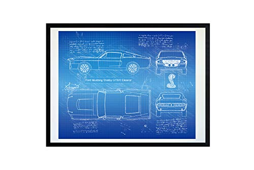 DolanPaperCo #268 Ford Mustang Shelby GT500 Eleanor 1967 Art Print, da Vinci Sketch – Unframed – Multiple Size/Color Options (Blueprint, 11x14) ()